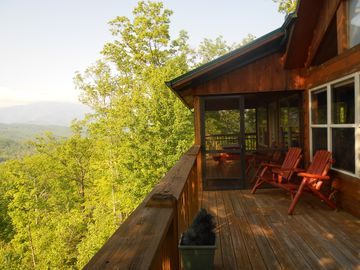 Smoky Mountain views from Adirondack chairs on back deck