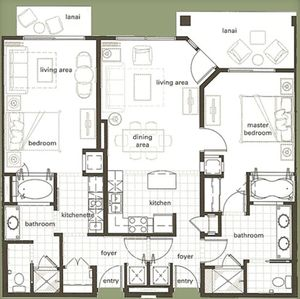 Floor Plan for 2 Bedroom Lockoff
