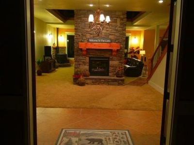 Main Entrance with Inviting Dual-Side Gas Fireplace