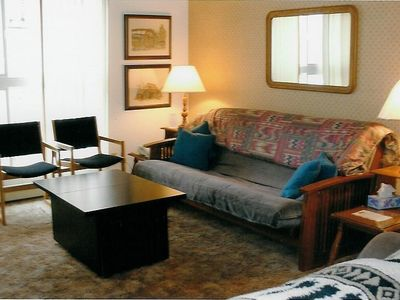Liviing room showing maple shaker futon