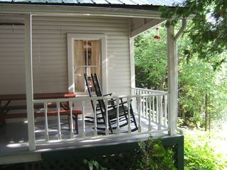 Lake Willoughby cottage photo - Rocking Chairs and Picnic Table with View to Right...