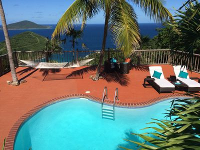 Large kidney-shaped pool and deck with gorgeous backdrop! Hammock between palms.