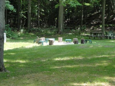 Fire Pit and picnic tables