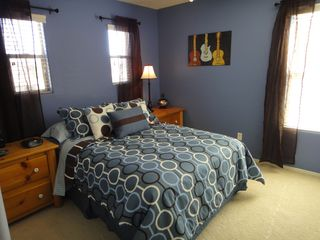 Peoria house photo - 2nd floor bedroom with full size bed & luxury bedding, closet, night lite
