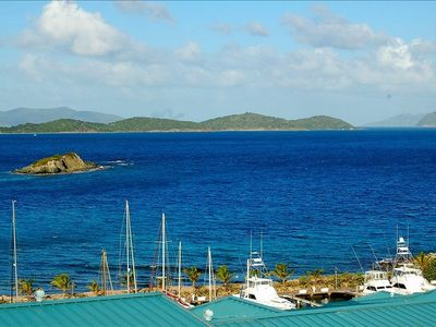 View from Deck of outly cays and British Islands watch the boats from the deck