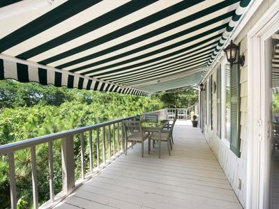 The upstairs wrap around deck