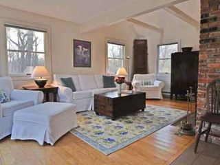 West Tisbury house photo - Living Room Features Vaulted Ceiling Area & Fireplace With Ample Seating