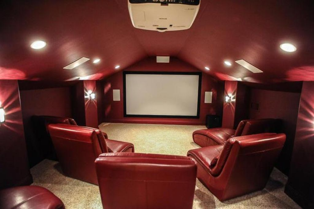 Burgundy And Brown Home Theater Design