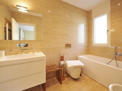 Luxury bathroom with bathtub