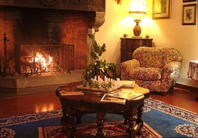 Iris Sitting Room with 17c fireplace