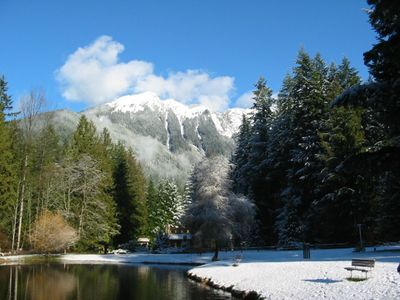 Mount Baker chalet rental - Snowline Pond in Winter with Church Mountain in Back Ground