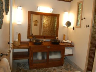 Keaau house photo - Double sinks of the Pineapple Suite.