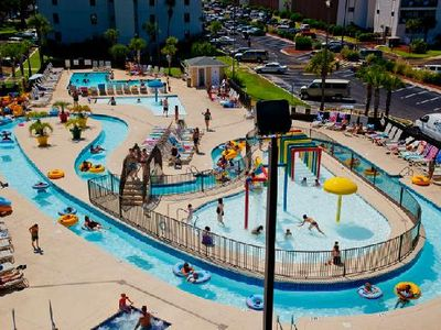 The lazy river and splash area, along with a hot tub area for the 'big' kids!