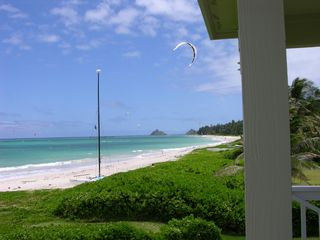 Kailua house photo - Kailua Beach from House. Small islands in kayaking distance. Kitesurfer in air