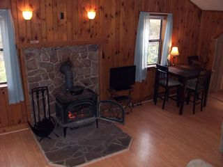Harrisonburg cabin photo - Wood stove & kitchen table.