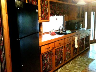 Full size refrigerator and small appliances (toaster, coffee makers, microwave)