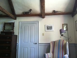 Wellfleet house photo - 2nd floor bedroom with exposed Cathedral ceiling and bird decoys