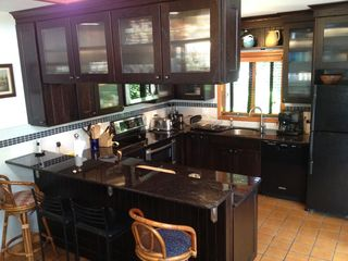 Hampton Bays house photo - New, beautiful and fully equipped kitchen. Bar height counter top and stools
