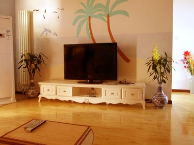 sitting room  with 47# flat screen 150 channels both English and Chinese