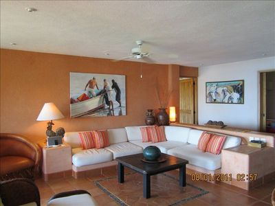 Enjoy the sunset or a movie in the comfy, spacious living room