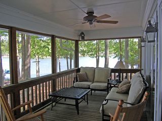 Lake Gaston house photo - screened porch with seating for 7...sofa/loveseat actually rock!