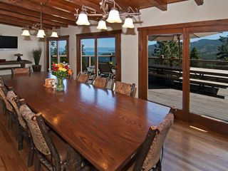 Heavenly Valley cabin photo - 240sf dining room with 3 sets of french doors to deck & large screen tv.