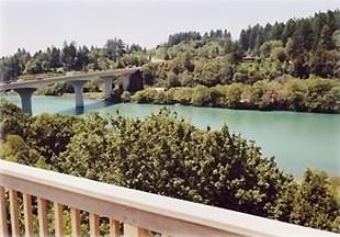 View of bridge and river from VILLA