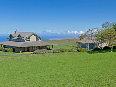 From the back, looking NW; ocean, privacy, coastline and tiptop of Maui beyond