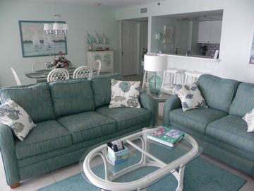 Long Beach Resort condo rental - Living & Dining Rooms with Ocean View and New Furniture