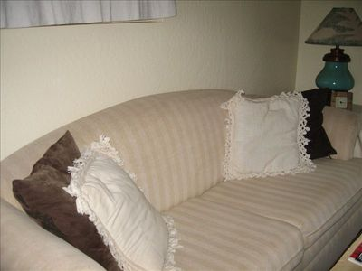 Sofa bed with foam topper for comfy sleeping for 2 extra guests