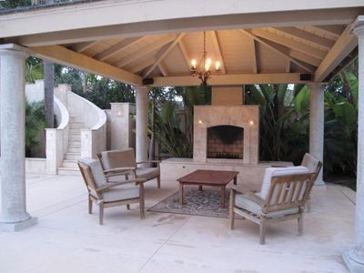 Gazebo with Built-in Gas and Wood Burning Fireplace and Lots of Seating