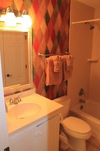 guest bath adjacent to twin room