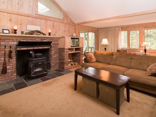 Quechee house photo - Living area with Wood Stove, Wireless Internet, Local,Long Distance Phone.