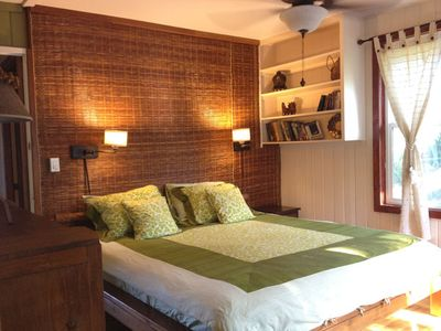 Avocado master bedroom with King bed,reading wall lights,air- conditioner,deck.