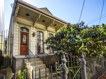 Warehouse District house rental - Welcome to our home! This is the formal street entrance with beautiful loquat tree and New Orleans iron work.
