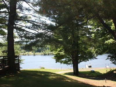 Northville house rental - Gentle walk slope down to 440' private lakefront.