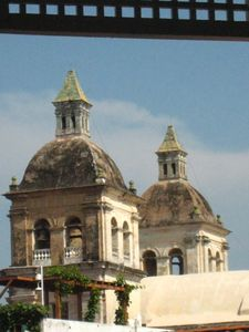 view of San Pedro Claver church spires, from the lanai; he protected slaves