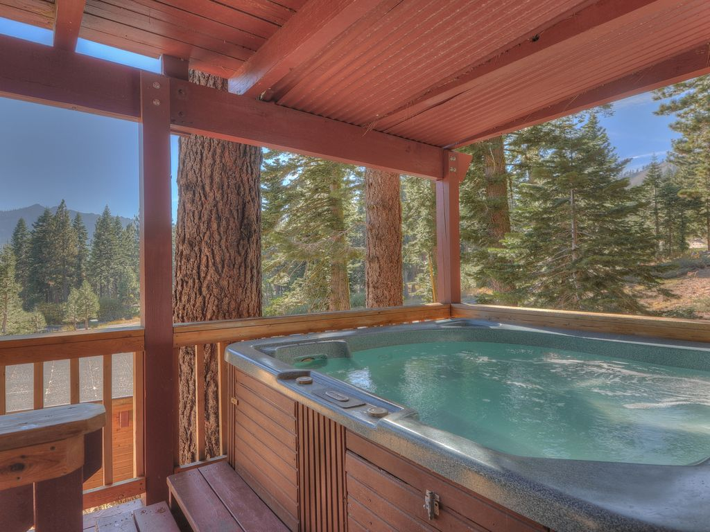 Hot tub on lower covered deck