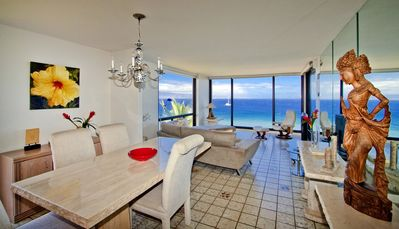 Enjoy sweeping views of the Pacific from our corner oceanfront condo.