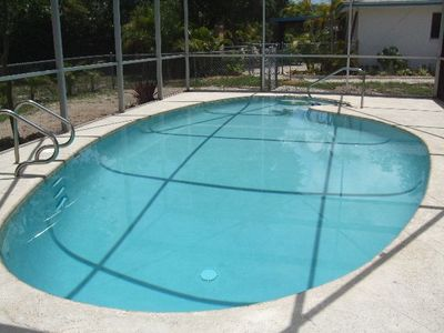 Screened in heated private pool in backyard