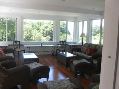 Large enclosed Sun Porch looks out at Folly Cove