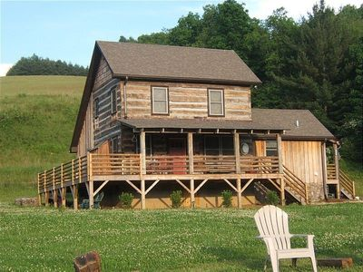 Jefferson cabin rental - Ashe River Cabin: antique log cabin with wrap around porch.