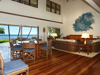The Great Room is airy and breezy with dining for 8 to 12. Perfect ocean view.