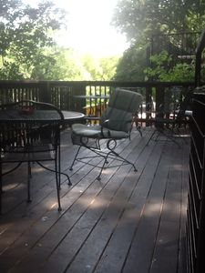 New Braunfels lodge rental - The coffee and guitar deck. Upper deck for the lodge rooms