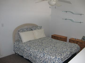 The loft bedroom with Queen-sized bed. Wake up and see the ocean from your bed!