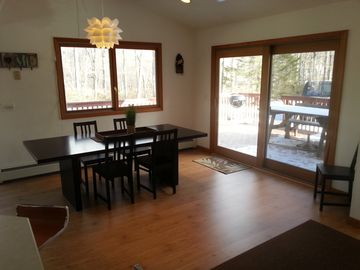 Dining area facing deck