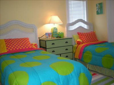 Fun Kids Room has 2 twins, set of bunk beds & private bath with granite counter.