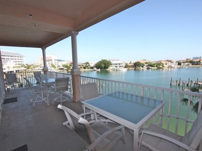 Harborview Grande-3 Bedroom/2 Bath Waterfront Condominium-Clearwater Beach, FL-Private Patio with waterfront views and seating for 8