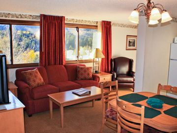 June Lake condo rental - Dining Area and Living Room at The Heidelberg Inn in June Lake California