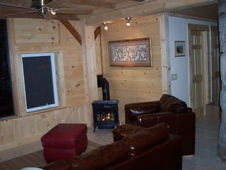Schoodic Point cottage photo - Family room with gas stove